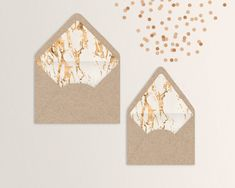 Chic, modern envelope liners with marbled rose-gold foiling