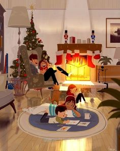 Cute Christmas illustration by Pascal Campion Art And Illustration, Christmas Illustration, Art Illustrations, Pascal Campion, Photo Images, Theme Noel, Christmas Art, Belle Photo, Illustrators