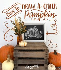 Valerie McKeehan, author of The Complete Book of Chalk Lettering, gives a step-by-step tutorial on how to draw a chalk pumpkin. Find it on Lily & Val Living!