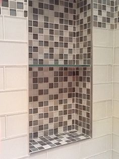 custom-glass-mosaic-recessed-shower-niche Custom Glass, Mosaic Glass, Master Bathroom, Recessed Shelves, Recessed Shelves Bathroom, Shower Niche, Mosaic Bathroom, Seaside Bathroom, Shower Floor