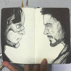 marvel sketches Make love not (civil) war! Avengers Drawings, Avengers Art, Marvel Art, Pencil Art Drawings, Cartoon Drawings, Drawing Sketches, Sketching, Amazing Drawings, Cool Drawings