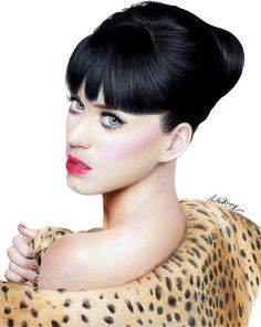 Colored pencil drawing of Katy Perry by talented artist Heather Rooney