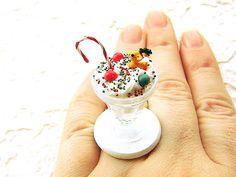 Kawaii Food Ring Christmas Candy Cane Reindeer Cookie