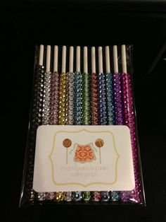 These are awesome! Bling sticks for cake pops-they make your cake pops beautiful and elegant...she sells them for $12.00 per dozen, and they come in all different colors...her shop is maskipopsbyadri.