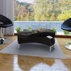 New Modern Black Coffee Table Side Swivel Office Kitchen Furniture High Gloss in Home & Garden, Furniture, Tables | eBay