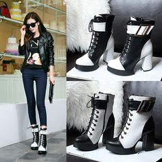 Elegant Sexy Womens Buckle Lace Up Platform High Block Fashion Ankle Boots Shoes #BrandNew #FashionAnkle