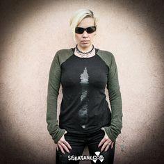 RANGE  Long Sleeves Shirt Grunge Black Print Mud by siskatank