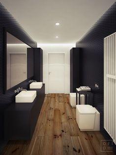 loft apartment by Oskar Firek, via Behance Bathroom Interior, Modern Bathroom, Loft Design, House Design, Bad Styling, Modern Loft, Bathroom Styling, Bathroom Lighting, Apartment Design