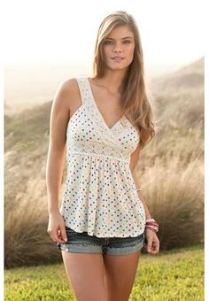 Dotted crochet trim tank. Cute