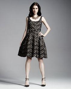 Oscar de la Renta Scoop-Neck Belted Lace Dress & Cashmere-Silk Bolero