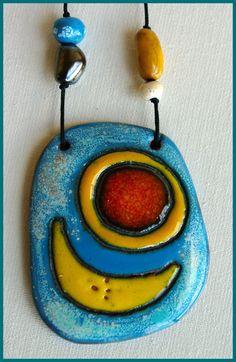"Кулон ""Лунный челн"", ceramic jewellery, Stella N"