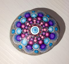 Big Dot Art Mandala Painted Stone Fairy Garden Blue Gift  Decoration Painted rock Beachstone Blue
