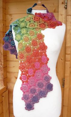 Iris Crochet Scarf...great pattern of color...really transforms the scarf