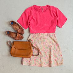 OUTFIT!  Vintage silk Tee, a redesigned floral skirt by Community Service, woven leather flats, and a Coach bag.