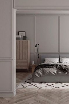 Beautiful mouldings can instantly upgrade an apartment. This makeover was created using simple dado rails, skirting boards and matching cornice mouldings. Dado Rail Bedroom, Master Bedroom, Wall Design, House Design, Classic Building, Skirting Boards, Garden Studio, Interior Decorating, Interior Design