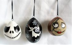 Set of 3 Jack Skellington, Sally and Zero Gourd Halloween Ornaments - Hand painted Gourds Halloween Gourds, Halloween Ornaments, Hand Painted Gourds, Hand Painted Ornaments, Haunted House For Kids, Black Ribbon, Jack Skellington, Trick Or Treat, Sally