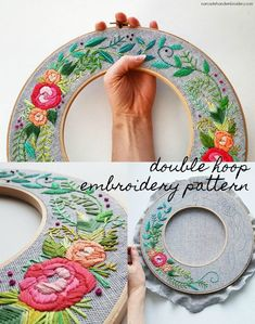 This beautiful double hoop embroidery pattern makes for a stunning wreath or handmade wall decoration. Get the pdf double hoop embroidery design and start stitching! #embroidery #embroiderydesign  This pin links to the pattern through an affiliate links, which means I get a small % back if you purchase through it, at no cost to you. #EmbroideryCraftsProjects