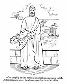 Kids coloring page from What's in the Bible? showing Peter