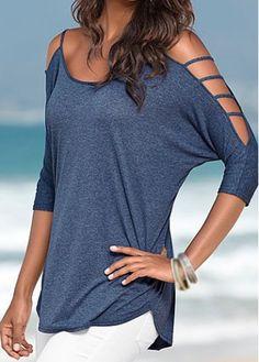 Round Neck Navy Blue Cutout Design T Shirt | modlily.com $20