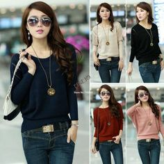 euro 10.25 incl shipping New 2014 Women Knitted Batwing Sweater Hollow Casual Jumper Knitting wool Loose Pullover Tops 19215