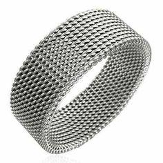 Stainless Steel Mesh Design 8mm Ring For Men