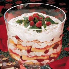 Raspberry Cocoa Trifle!  I make this all the time but I replace the frozen raspberries, with fresh cut strawberries!  I sprinkle some sugar on the berries to pull out the juice before putting together!  Tastes exactly like a strawberry shortcake!  AMAZING!!!!
