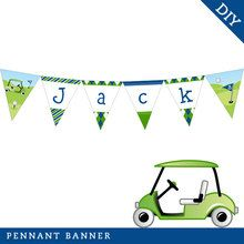 Navy Golf Party Pennant Banner (Digital File)