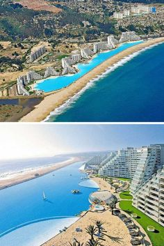 San Alfonso del Mar – Algarrobo, Chile! The pool at the San Alfonso del Mar is about 1 hour outside of Santiago, Chile, and is the biggest pool in the world! This pool is literally 1 kilometer long and holds 66 million gallons of water. This pool is so large that it supposedly costs $4 million a year to keep it up.