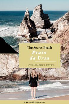 Praia da Ursa, der geheime Strand in Portugal, nahe Lissabon und Sintra. Wundervoller, unentdeckter Strandabschnitt.