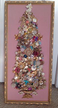 Vintage Rhinestone Jewelry Christmas Tree in a frame