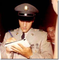 Elvis Signing autographs outside Graceland June 1st 1958.