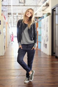 tomboy chic: CAbi moto jacket, edge tee or shrunken sweatshirt and Bianca plus a pair of converse.