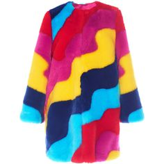 Mira Mikati Rainbow Wave Fur Coat ($815) ❤ liked on Polyvore featuring outerwear, coats, multi, print coat, blue coat, rainbow coat, fur coat and pattern coat