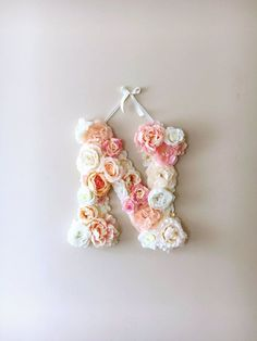 "DIY your photo charms, 100% compatible with Pandora bracelets. Make your gifts special. Make your life special! Flower Letters, Floral Letters, Vintage wedding decor / Personalized nursery wall decor, Baby shower, 45 cm/17.8"" wall art, Photography Prop"