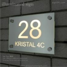 Illuminated Rectangle Glass Mirror House Number Address Signs with Warm White LED Light Night View