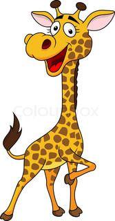 Vector illustration of funny giraffe cartoon. Cartoon Giraffe, Funny Giraffe, Cute Giraffe, Cute Cartoon, Giraffe Drawing, Giraffe Art, Giraffe Images, Giraffe Illustration, Canvas Material