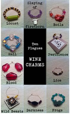 Ten Plagues wine charms for the Passover seder.
