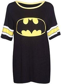 From 7.69 Womens Superman Batman Superhero Logo Print Short Sleeve Round Neckline Stretch Ladies Baseball Long T-shirt Top Batman Size 12 - 14