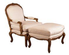Louis J Solomon Louis XV Armchair & Ottoman Solomon, Vanity Bench, Accent Chairs, Ottoman, Armchair, Traditional Styles, Asia, Tropical, Furniture