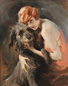 Tade (Tadeusz) Styka (Polish, 1889-1954) -  Young Woman and Elk Hound