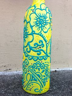 So obsessed with these colors!!!!!! - $24 hand-painted wine bottle vase