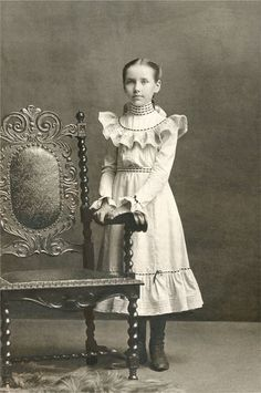 Restored and improved reproduction photo--Victorian girl and elegant chair, 1880s.    Photo by Harry M. Porter  | eBay