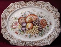 """A vintage Johnson Brothers Windsor Ware 20"""" platter in the Harvest Fruit pattern - photo by Chinafinders ~ ~ Two platters available at houseofbeaulieu eBay"""