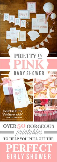 Baby shower themes for girls can be daunting. We've got everything needed to pull off a gorgeous 'Pretty In Pink' Baby Shower! Shower Time, Baby Shower Fun, Baby Shower Gender Reveal, Girl Shower, Shower Party, Baby Shower Parties, Shower Gifts, Baby Showers, Baby Girl Toys