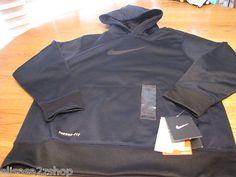 Boys youth Nike hoodie jacket coat therma fit navy black 492 LG L 425791 $40