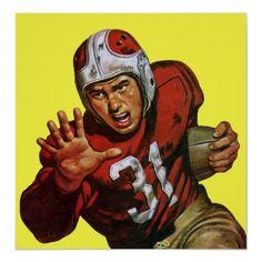 Vintage Football Player; Running Back Number 31 print