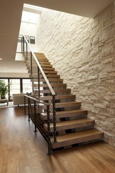 stairs + stone wall - floating stairs with cable system.