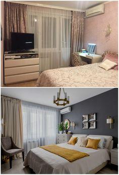 Спальня до и после ремонта