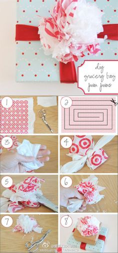 plastic grocery bag pom pom gift toppers - how-to Recycled Plastic Bags, Plastic Grocery Bags, Diy Design, Recycler Diy, Crafts To Make, Crafts For Kids, Morris, Gift Bows, Diy Ribbon