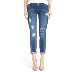 KUT from the Kloth 'Catherine' Destructed Stretch Boyfriend Jeans (€87) ❤ liked on Polyvore featuring jeans, accountability, boyfriend fit jeans, ripped blue jeans, slim fit jeans, destroyed jeans and torn boyfriend jeans